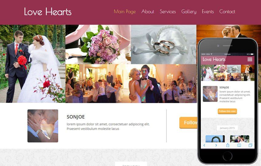 Love Hearts a Wedding Planner Flat Bootstrap Responsive Web ...