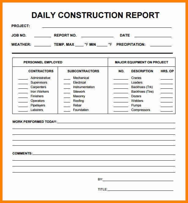 5+ daily progress report format construction project - mail clerked