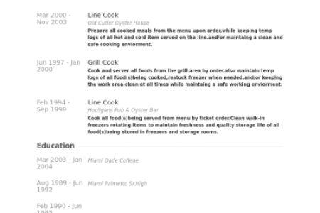 fry cook resume sample line cook resume job description chef ...