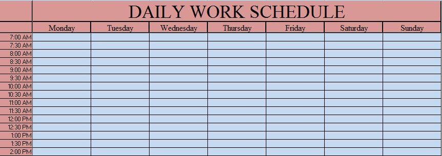 Download Daily Work Schedule Excel Template - ExcelDataPro