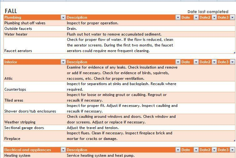 Home Maintenance Schedule and Task List Template | Formal Word ...