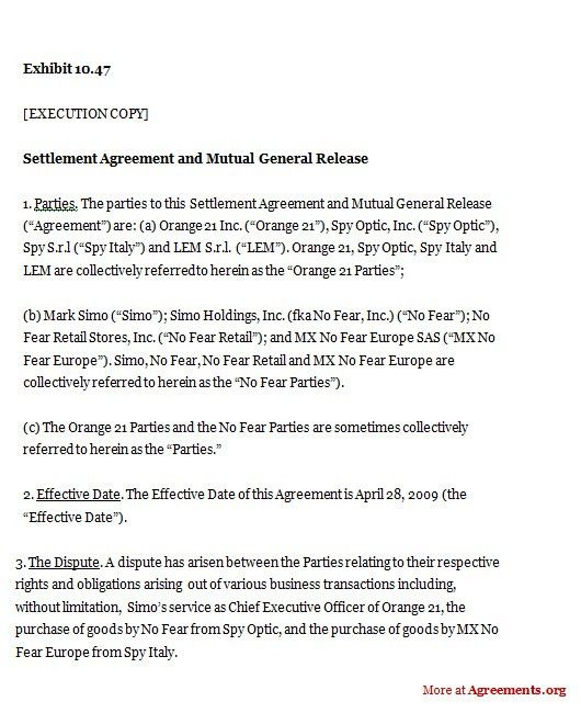 Settlement Agreement and Mutual General Release, Sample Settlement ...