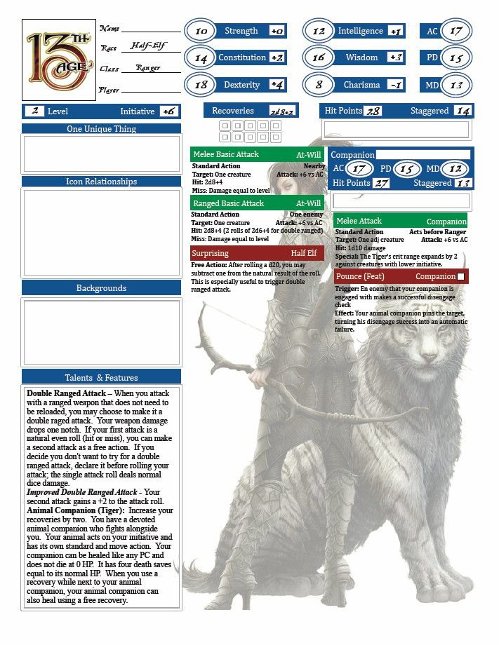 Character Sheets | Tales of 13th Age