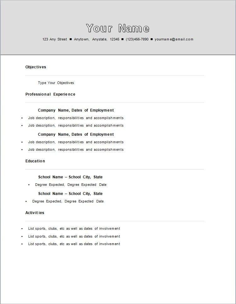 Standard Resume Format   jennywashere.com