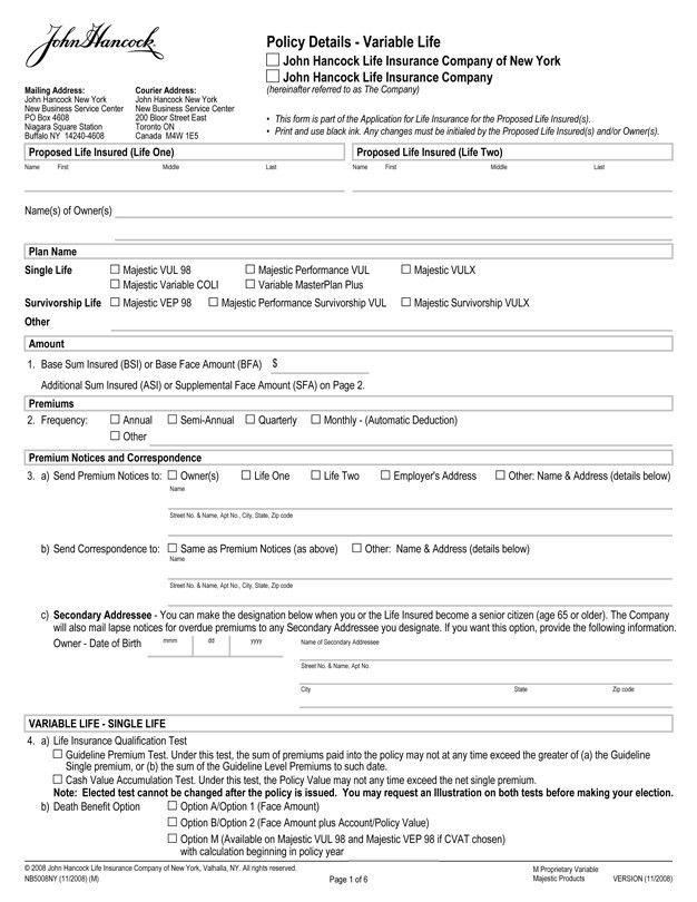 Form of Specimen Application for the Majestic Survivorship VULX ...