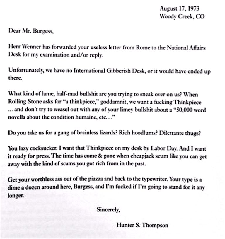Hunter S. Thompson Writes a Blistering, Over-the-Top Letter to ...