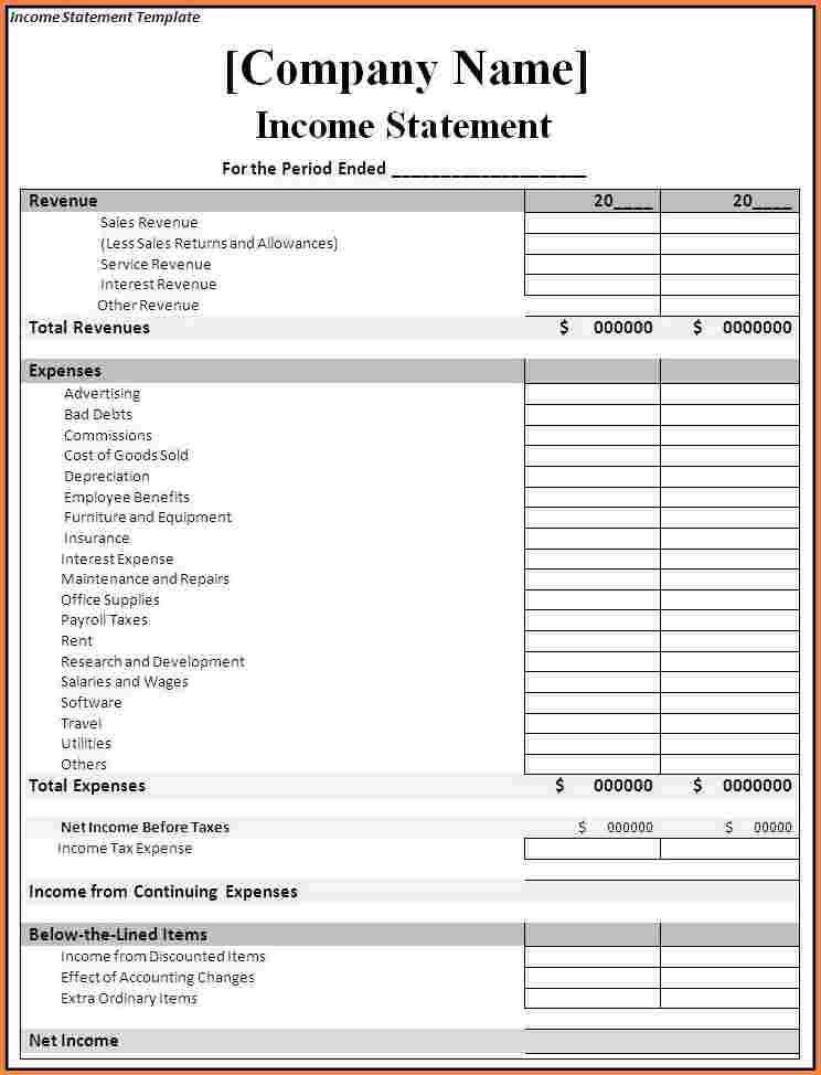 4+ income statement template | Registration Statement 2017