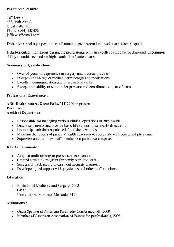 Firefighter Emt Resume Sample - Contegri.com