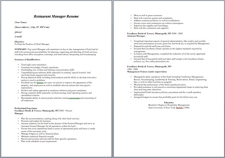 Restaurant Manager Resume – Sample Resumes