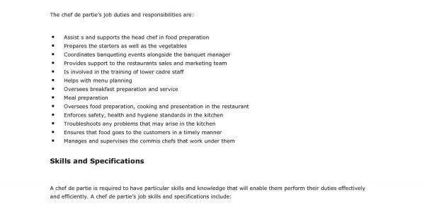 job brief. chef resume sample. job description position casual ...