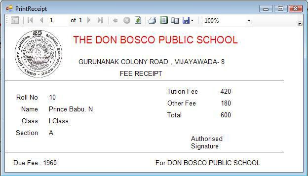Schools Fee Receipt Format in Excel - Project management Templates