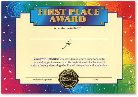 First Place Award Certificate - 30 Units | Products