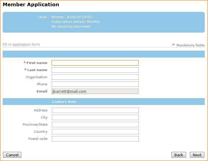 Membership application form - Online help - Wild Apricot help