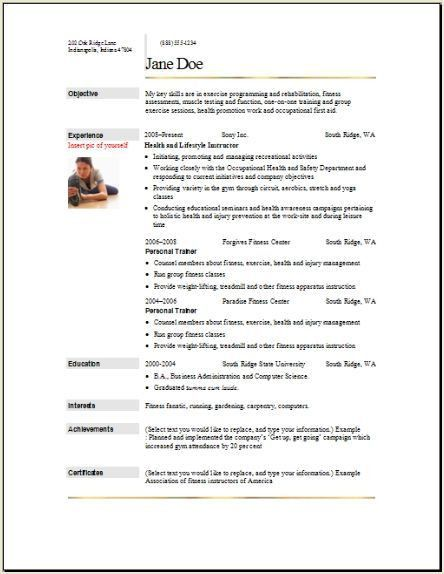 Sports Fitness Resume, Occupational:examples,samples Free edit ...