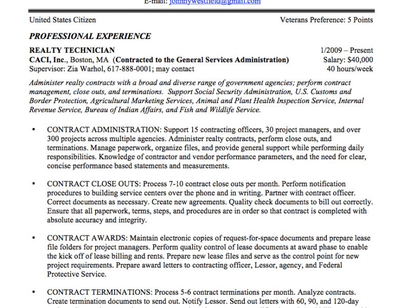 Sumptuous Government Resume Examples 15 Federal Resume Sample And ...