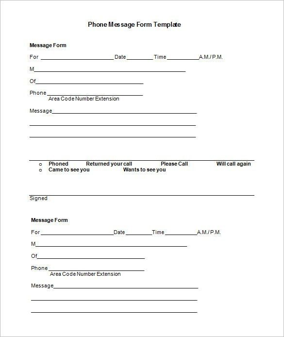 Phone Message Template – 21+ Free Word, Excel, PDF Documents ...