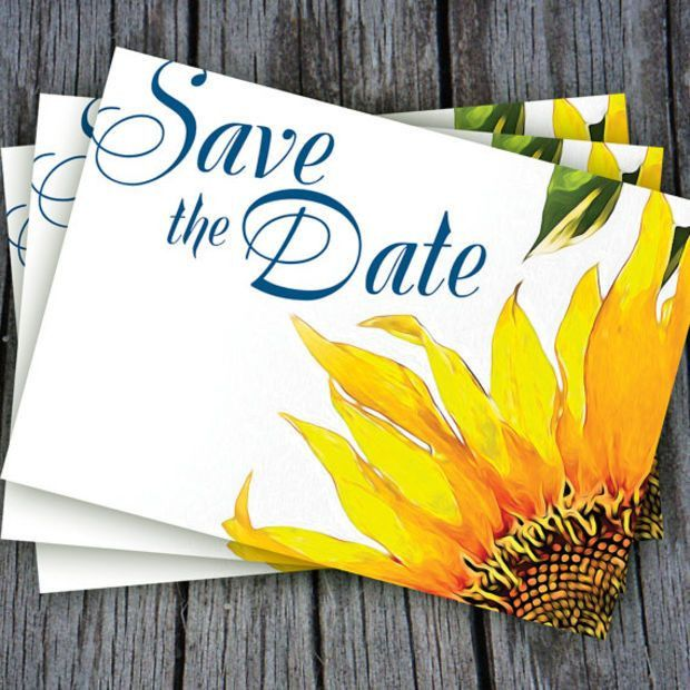 Yellow Stunning Sunflower Save The Date Postcard-blue and yellow ...