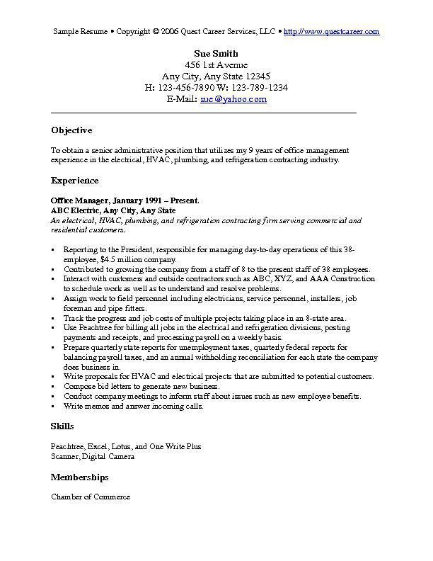 Professional Objective In Resume 19 Good Examples Of A Resume ...