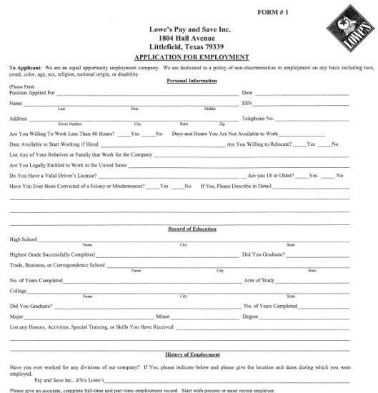 Lowe's Job Application Form | Printable Job Application
