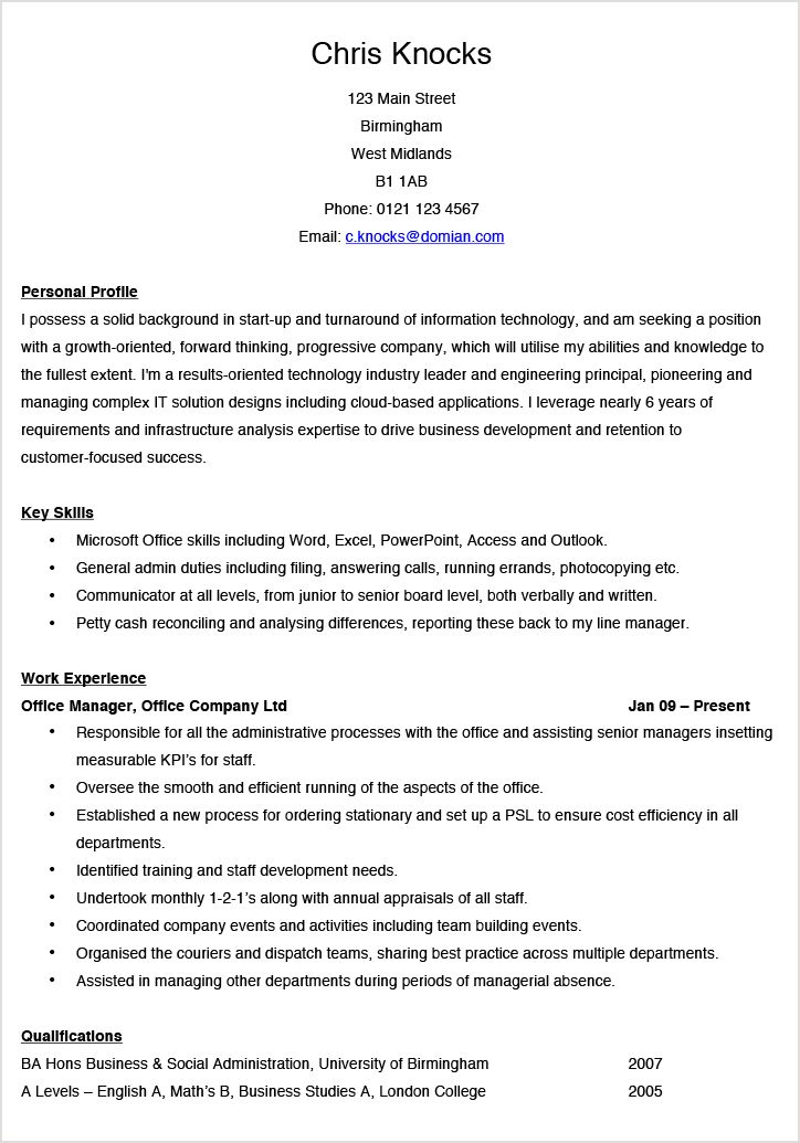 Office Manager CV Example | Hashtag CV