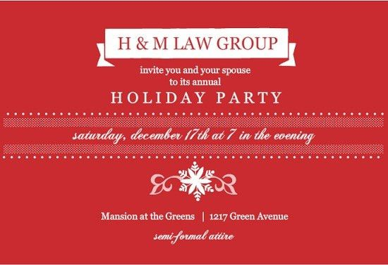 Holiday Party Invitation. Traditional Red Business Holiday Party ...