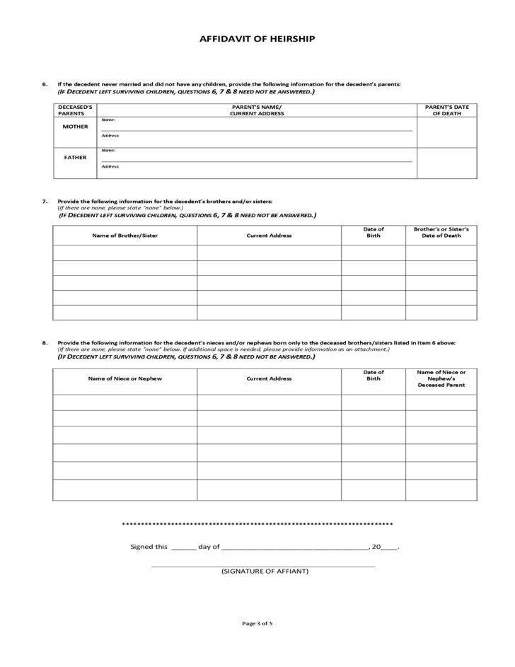 Affidavit of Heirship Sample Form Free Download
