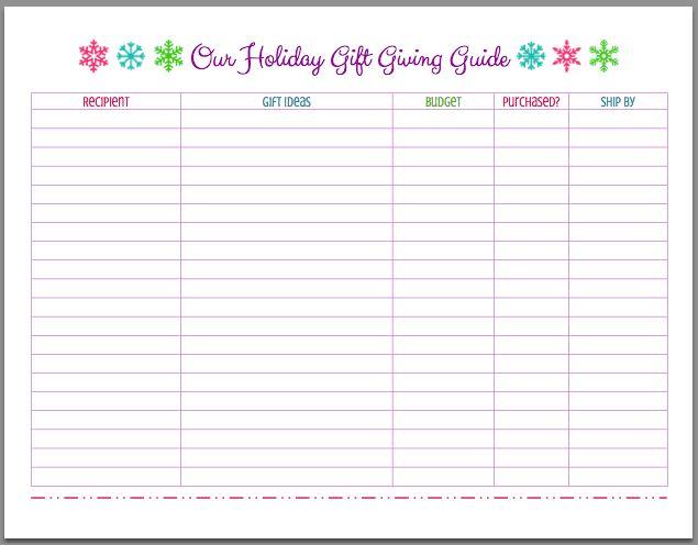 FREE Printable Christmas Holiday Gift Giving Guide - Mom 4 Real