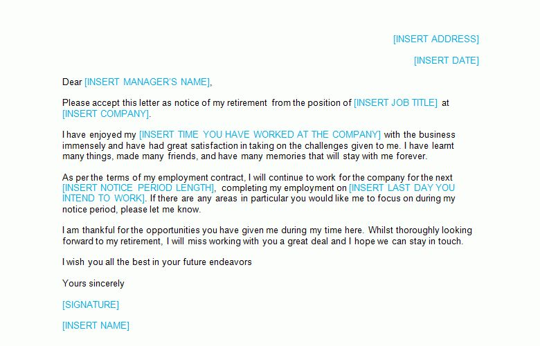Resignation Letter: Retirement Template - Bizorb
