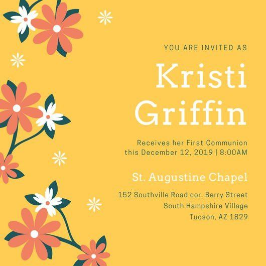 Yellow Floral First Communion Invitation - Templates by Canva