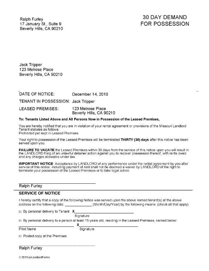 30 day notice letter gplusnick. 30 day notice letter to tenant ...