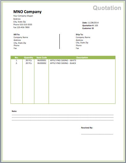 Cleaning Invoice Template | Free Quotation Templates