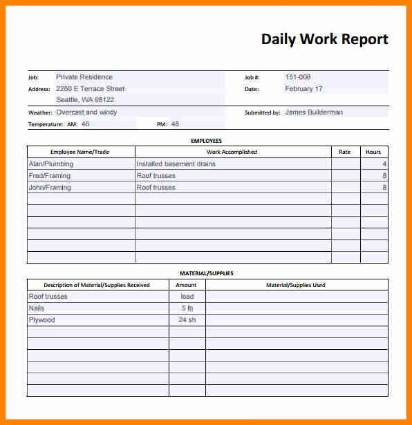7+ daily report format in word - mail clerked