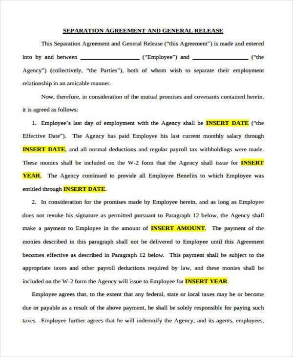 Separation Agreement Template. Business Separation Agreement ...