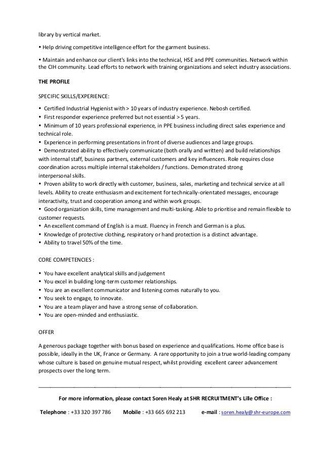 EMEA HSE CONSULTANT Job Description