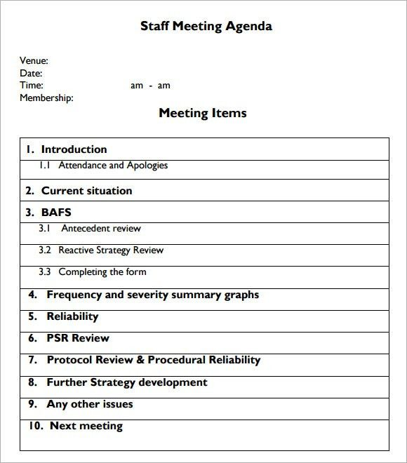 school meeting agenda template