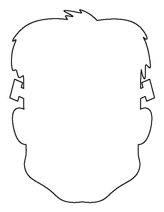 Frankenstein head pattern. Use the printable outline for crafts ...