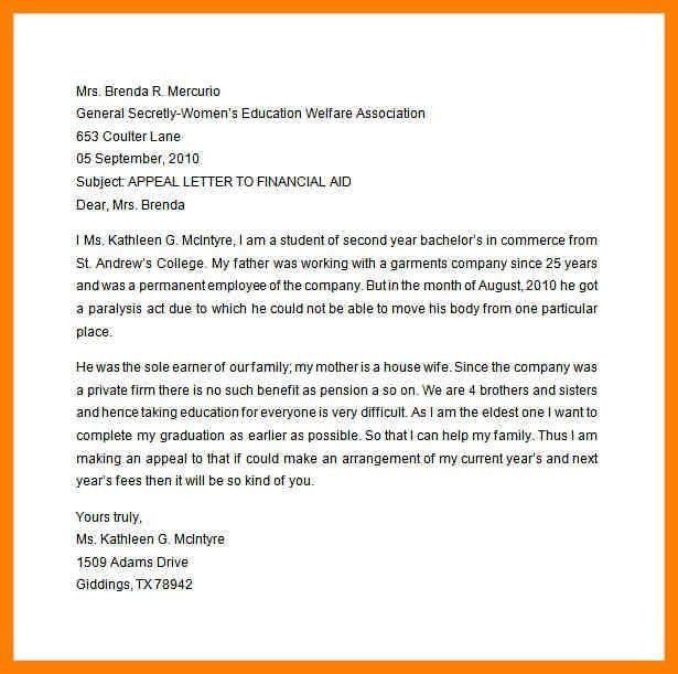 9+ financial aid suspension appeal letter sample | joblettered