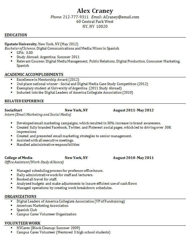 College Grad Resume for Fresh Graduate | Resume Samples