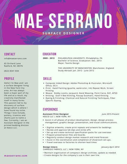 Purple Brushes Surface Colorful Resume - Templates by Canva