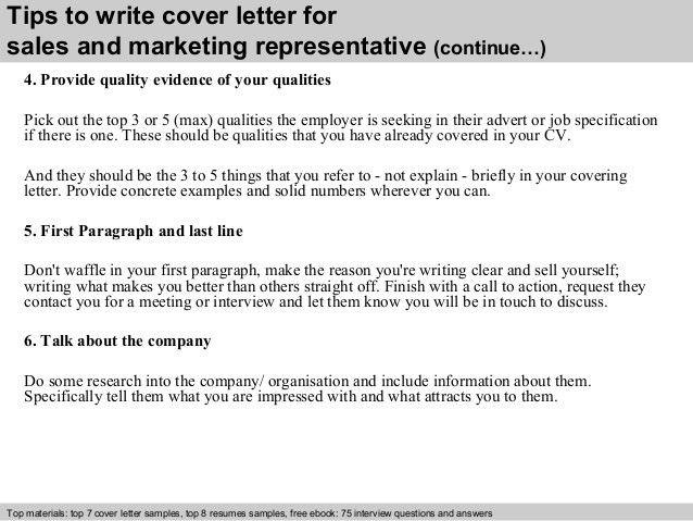 Sales and marketing representative cover letter