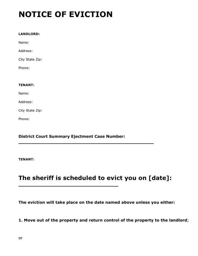 Eviction notice template in Word and Pdf formats