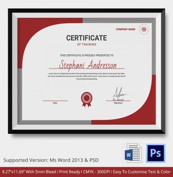 word training certificate template