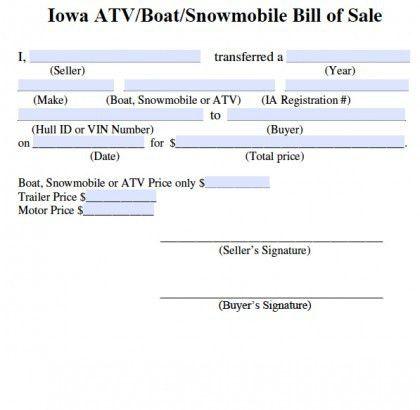Free Iowa Bill of Sale for ATV | Boat | Snowmobile Form | PDF ...