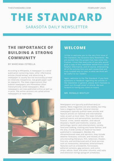 Simple Turquoise Box General Newsletter - Templates by Canva