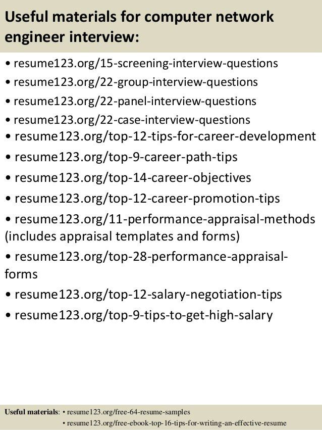 Top 8 computer network engineer resume samples