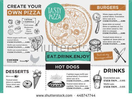Menu Placemat Food Restaurant Brochure Menu Stock Vector 412168387 ...