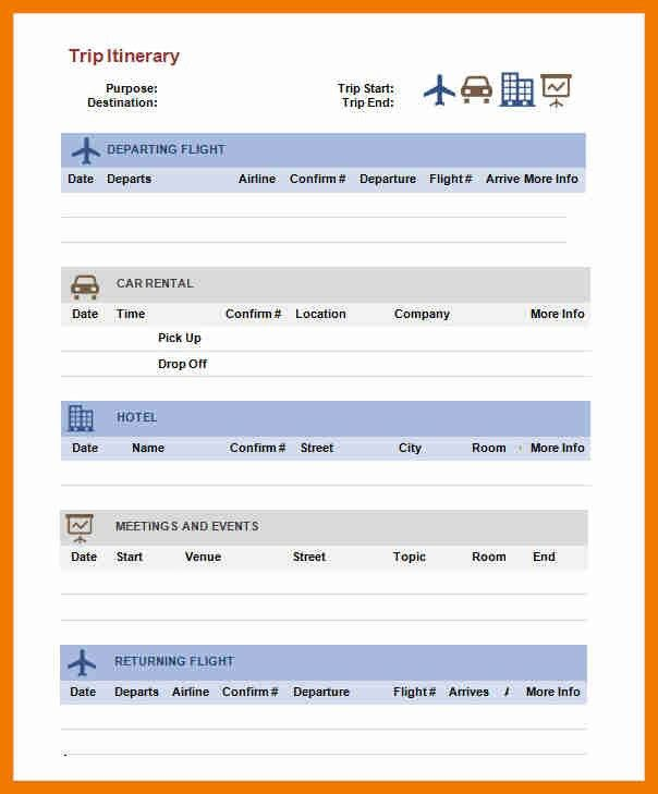 Trip Itinerary Template. Travel Itinerary Format Sample Business ...