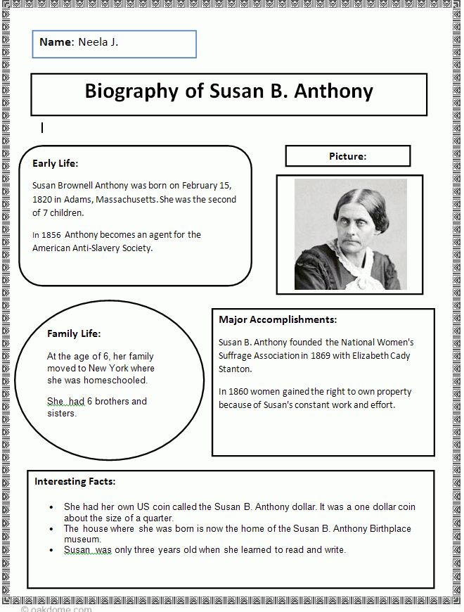 Biography Research Finished Example | Writer's workshop ...