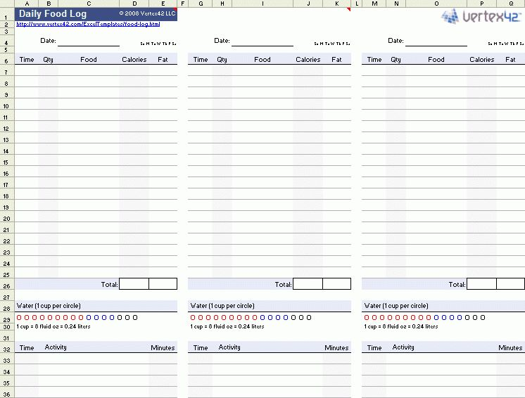 Download the Daily Food Log Template from Vertex42.com | Healthy ...