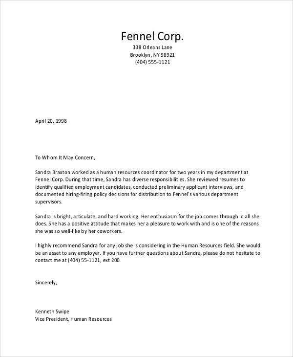 Sample Recommendation Letter - 8+ Examples in PDF, Word
